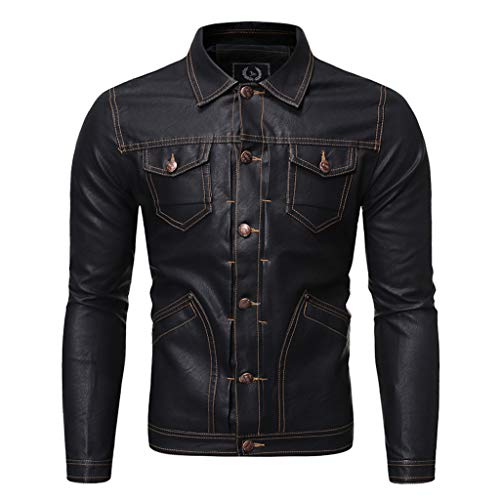 MIS1950s Trend Motorcycle Jacket Men's Casual Slim Fit Leather Jackets Lightweight Lapel Button Coats
