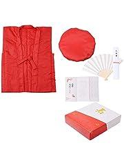 還暦 頭巾、ちゃんちゃんこ、末広 5点セット「赤色 無地」60歳のお祝いに