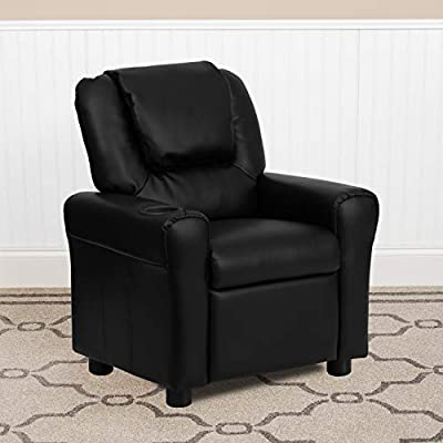 Flash Furniture Contemporary Black LeatherSoft Kids Recliner with Cup Holder and Headrest from Flash Furniture