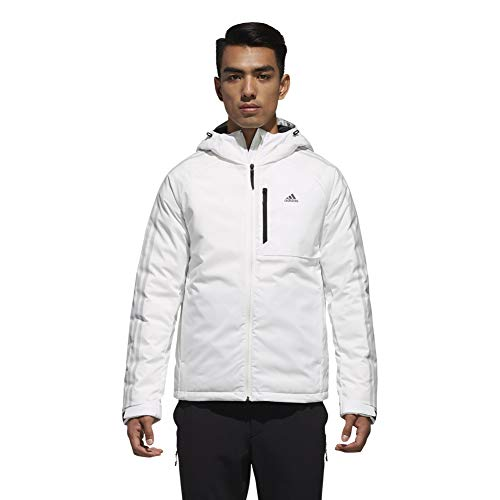 adidas Outdoor Men's 3-Stripe Down Hoodie, XL, White/Black