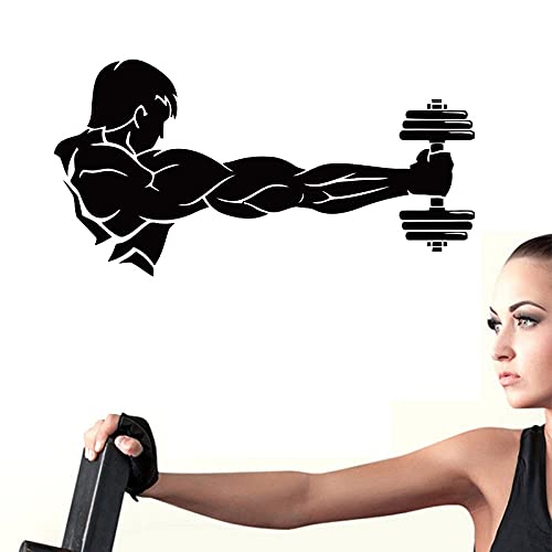 Pegatinas de vinilo talladas para pared, entrenamiento deportivo, logotipo muscular, barra, gimnasio, póster, moda, artista simple, decoración del hogar, A5 43x85cm