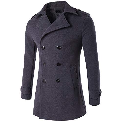 SPECIALOFFERKYZ - Abrigo minimalista para hombre, estilo militar, estilo casual, solapa, doble botonadura para hombre, ropa de vacaciones, de lana, cortavientos Gris gris oscuro M