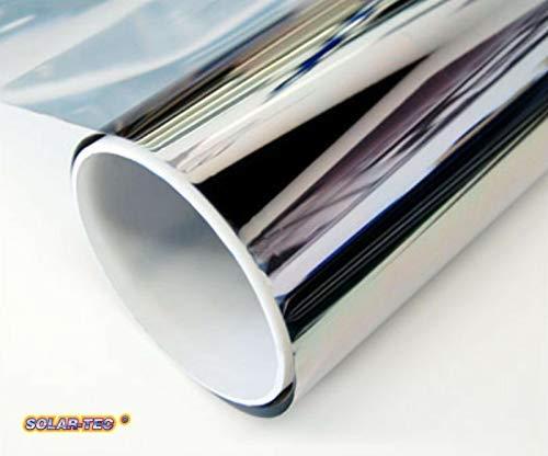 SOLAR-TEC® 300 x 76cm Universal Sonnenschutz Spiegelfolie 99% UV-Schutz 78% reduzierte Helligkeit hochglanzverspiegelt Kratzfest selbstklebend für Außen- und Innenmontage