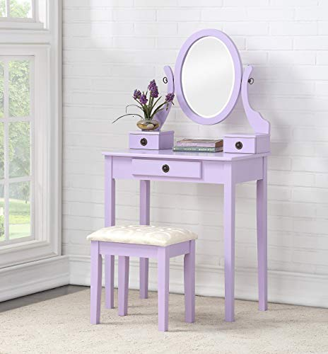 lavender color vanity table and stool set