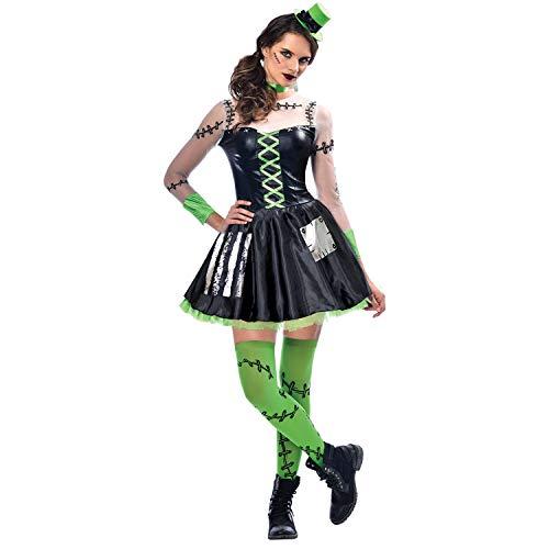 Yummy Bee - Frankenstein Disfraz Terror Mujer - Vestido Sombrero Medias Talla 42 44 Verde