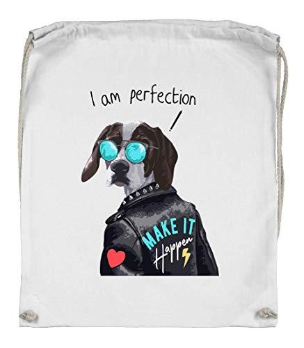 Druckerlebnis24 Turnbeutel - Hund Lederjacke Sonnenbrille Herz - Stoffbeutel aus Bio Baumwolle