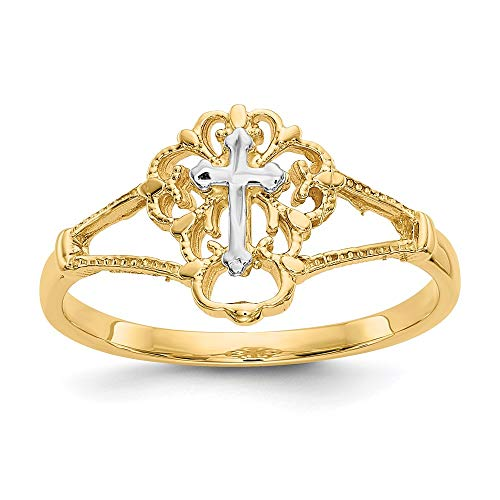 14k Two Tone Yellow Gold Cross Religious Band Ring Size 7.00 Fine Jewelry For Women Gifts For Her