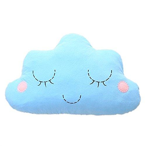 Nunubee Cloud-förmige zierkissen mit füllung Spielzeug deko Kissen Kurze Plüsch Baumwolle PP Baumwolle Wohnzimmer Sofa Office dekorative babyzimmer deko, Blau 50 * 30cm