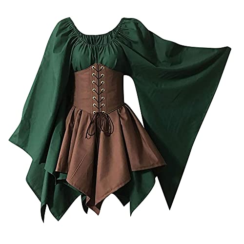 FUNJUN Vestido gtico Medieval de Cintura, Disfraz Medieval de Cos para Mujer, cors de Halloween, Vestido Victoriano, Conjunto Bohemio de Cintura Alta