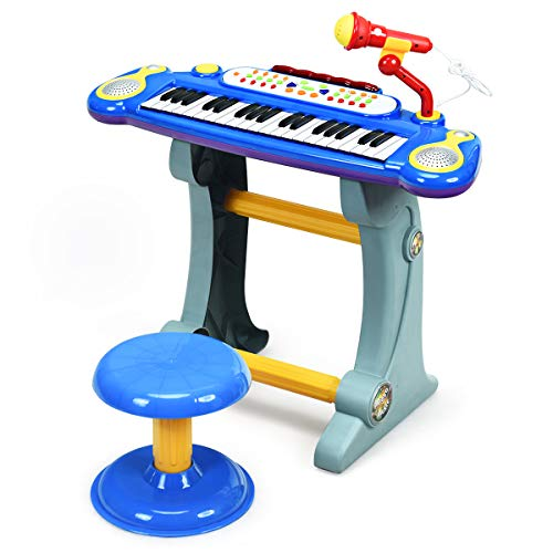 Costzon 37-Key Kids Piano Keyboard Toy, Toddler Electronic Musical Instrument Educational Toy w/Microphone, Multiple Sounds, Record Playback, Lights & Stool, Birthday Gift for Girls Boys Age 3+, Blue