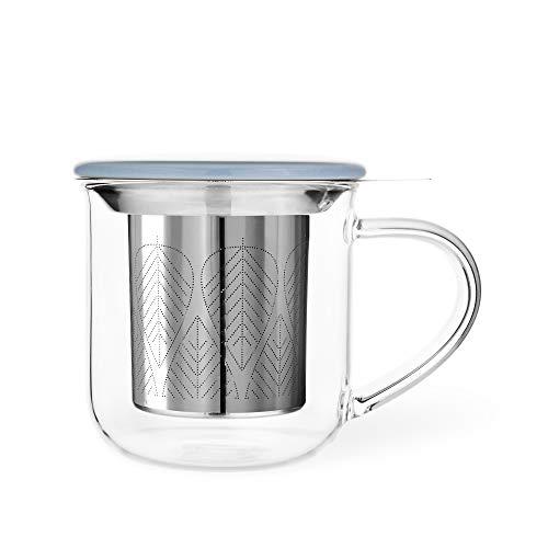 Loose Leaf Tea Infuser Mug: Minima 14oz Large Glass Tea Mug with Loose Leaf Tea Steeper | Tea Brewing Cup with Lid and Tea Fine Mesh Diffuser Filter Basket | Tea Tumbler Infuser Best as Tea Lover Gift