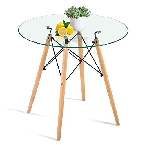 """Round Glass Dining Table Small Dining Room Table with Wood Legs 31.5"""" for Home Office Kitchen Room"""