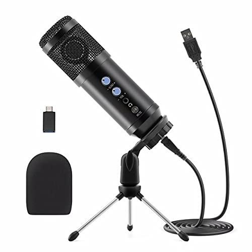 LENSOUL Micrófono de Condensador, Micrófonos Profesionales Direccionales de Metal para Gaming, LiveStreaming, Karaoke, Youtube, Micrófono USB con Montaje de Trípode de Metal Ajustable para PC, Laptop
