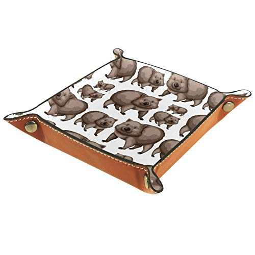 Cute Wombats Leather Trinket Tray Storage for Keys Phone Coins Watches Jewellery Organiser Catchall Valet Tidy Trays