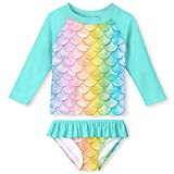 4t Rash Guard Girls Two Piece Swimsuit Quick Dry 3D Fish Scales Green Swimwear Long Sleeve Sun Protection Bathing Suit 3-4 Years