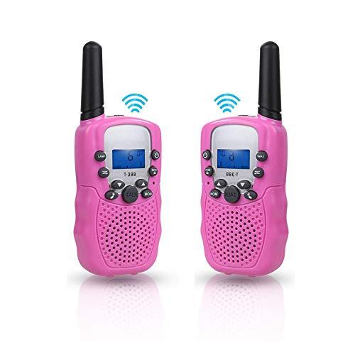 AILSAYA Children's Radio, Walkie-Talkie 1-3KM Range, 8-Channel Radio Toy, Pink with Children's Flashlight LCD Screen Gift
