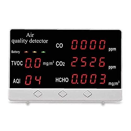 WGHH Monitor de Calidad del Aire 5-en-1 formaldehído Multifuncional CO2 Monitor de Detector al Aire Libre y en Interiores para la Oficina de la Oficina en el hogar Varias Ocasiones