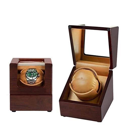 LULUTING Hogar individual Watch Winder, devanaderas reloj automático a prueba de polvo caja de madera caja de la caja del reloj de la devanadera elegante pantalla de Reloj Reloj de almacenamiento gira