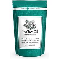 Tea Tree Aceite de árbol de té con sal de Epsom para tratar hongos en las uñas, pie de atleta y olor persistente del pie 16oz