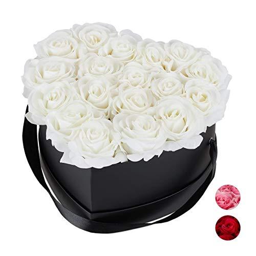 Relaxdays Rosenbox Herz, 18 Rosen, stabile Flowerbox schwarz, 10 Jahre haltbar, Geschenkidee,...