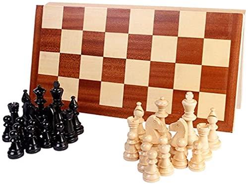 DZX International Chess 42x42cm - Rompecabezas de Madera Maciza para Adultos Tablero de ajedrez Plegable, Rompecabezas de ajedrez, Juego Especial, niños aprendiendo ajedrez y Cartas, Juguetes de OC