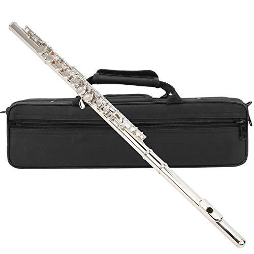 Flauta C de 16 orificios, instrumento musical para estudiantes con bolsa de almacenamiento Instrumento musical de resonancia de tubo aumentado(Silver)