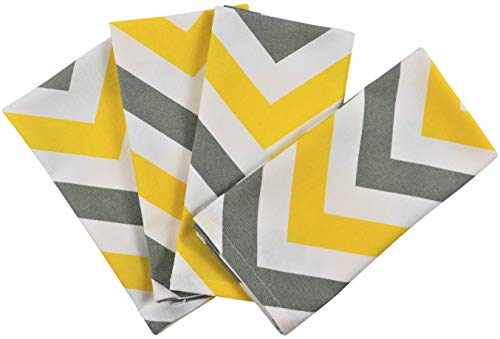 Crabtree Collection Deluxe Holiday Cotton Table Linens, Bright Colors Classic Christmas Designs for Kitchens and Dining Rooms (Grey/Yellow Chevron Napkins)