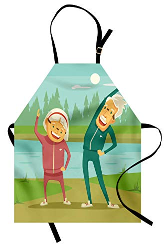 Ambesonne Grandpa Apron, Grandpa and Grandma Doing Cardio Cartoon Design River Elderly Retirement Activities, Unisex Kitchen Bib Apron with Adjustable Neck for Cooking Baking Gardening, Multicolor