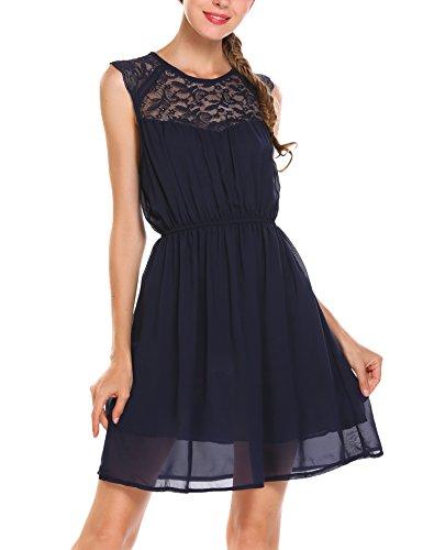 Beyove Damen Ärmellos Sommerkleid mit Spitzen Kurz Chiffonkleid Festlich Partykleid Minikleid Strand Casual