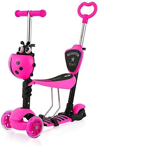 YOLEO 5-in-1 Kinder Roller Scooter mit Abnehmbarer Karikaturkorb Sitz Schubstange LED große Räder Bequeme Rückenlehne Höheverstellbare Lenker für Kleinkinder Jungen Mädchen ab 2 Jahre (Rosa)