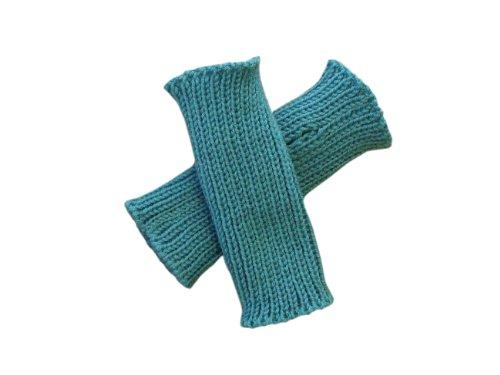 100% Merinowolle Baby Kleinkind Armstulpen Strick Fäustlinge Gr. 3-4 Jahre , aqua blue