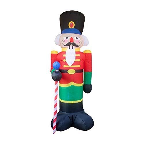 Luccase Led Soldat Aufblasbar Nussknacker Modell Spielzeug mit 2 Bodeninterpolation Weihnachts Aufblasbare LED Leuchten Dekor Feiertags Dekoration im Freien