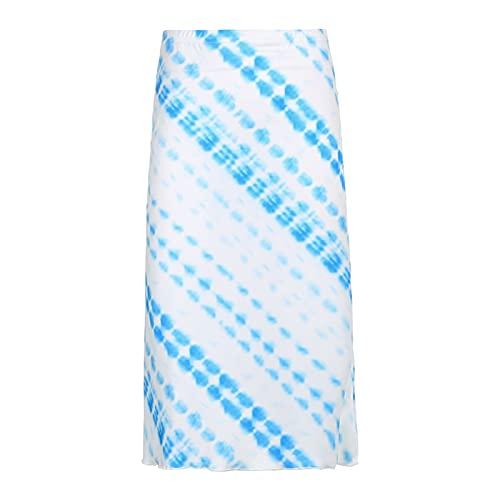 CJWSLYT Vestido a cuadros con teñido anudado, falda midi estilo mujer linda ropa kawaii cintura alta moda faldas de los años 90 (color: azul, tamaño: S)