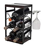 ComfyHouse Rustic Wood Countertop Wine Rack 5 Bottles with Wine Glass Holder/No Assembly…