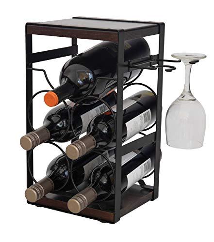 ComfyHouse Estante de madera rústica para 5 botellas de vino con soporte para copas de vino sin montaje