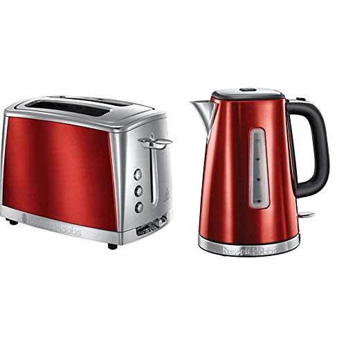 Russell Hobbs Luna Red Kettle and Toaster Set - 23210 1.7Ltr - 3kw Jug Kettle - 23220 2 Slice Toaster