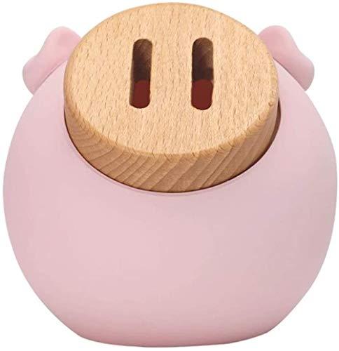 Piggy Bank Pink Piggy Bank Beige Piggy Bank Money Pozo con la Resina Madera Cuerpo y Boca para Niños Niños Niños Adultos Moneda Banco Piggy Bank Toy Baifantastic