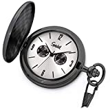 Speidel Classic Brushed Satin Black Engravable Pocket Watch with 14' Chain, Silver Dial, Seconds Hand, Day and Date Sub-Dials