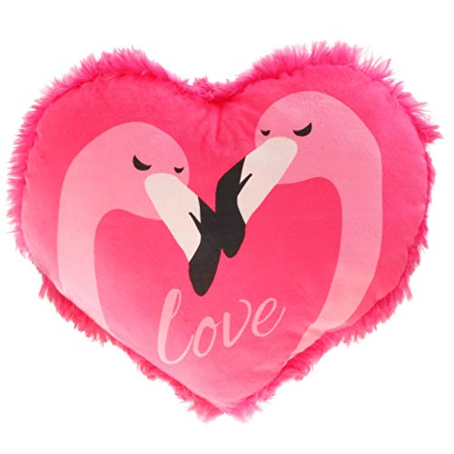 Aliki Plüsch Herz Flamingo-Love Pink 60 cm, Herz-Kissen, Zierkissen, Kuschelkissen, Deko-Kissen in Herzform