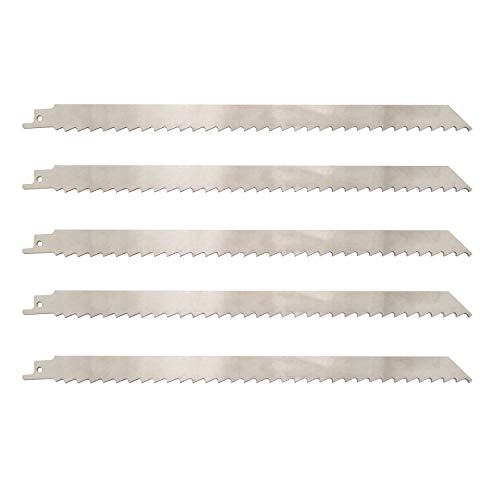 12 Inch Stainless Steel Reciprocating Saw Blades for Meat, 3TPI Big Tooth Unpainted Reciprocating Saw Blades for Food Cutting, Big Animals, Frozen Meat, Beef, Sheep, Cured Ham, Turkey, Bone - 5pack