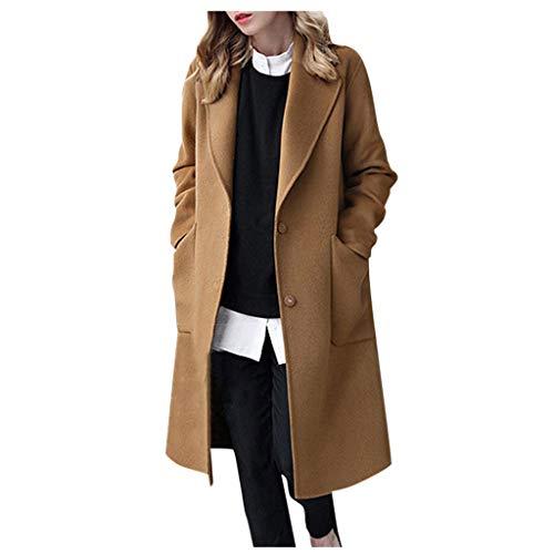 Winter Mantel für Damen Lang Wollmantel GroßE GrößEn Trenchcoat,Kanpola Warm Frauenmantel BeiläUfige Business Blazermantel mit Eingekerbter-Kragen Taschen Lose Outwear