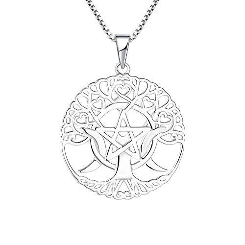 starchenie Triple Moon Göttin Anhänger Kette 925 Silber Pentagramm-Keltischer Baum des Lebens Talisman Halskette