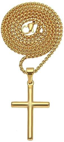 Collar de moda Accesorios personalizados Collares Collar con colgante de cruz Chapado en oro Collar con colgante de cruz Accesorios pendientes Hombres Suéteres Dorado 3 mm * 24 pulgadas Acero