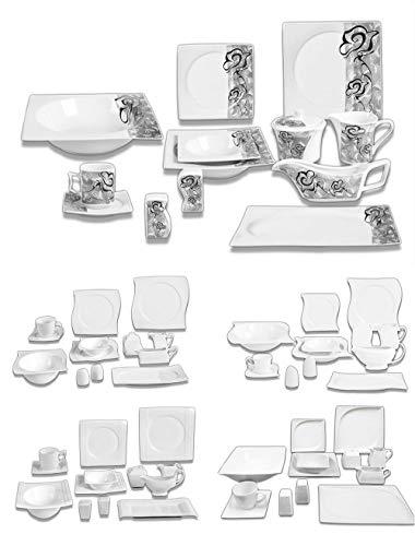 Modernes Geschirr Set | Kombiservice | Porzellan | Teller | Tafelset | Kaffeeservice | (43 teilig (6 Personen), Modell #4)