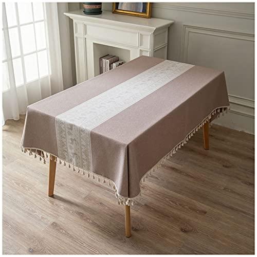 WLI Mantel Mesa Rectangular 120x190cm Marrón Manteles Algodón Lino Lavable Mantel con Borlas, Protector de Mesa Manteles Table Cloth para Mesa de Cocina Comedor Buffet Decoración