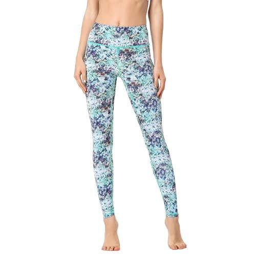 QTJY Pantalones de Yoga Florales pequeños para Mujer, Leggings de Cadera de melocotón de Cintura Alta, Pantalones de Yoga para Correr, Pantalones Deportivos al Aire Libre B M