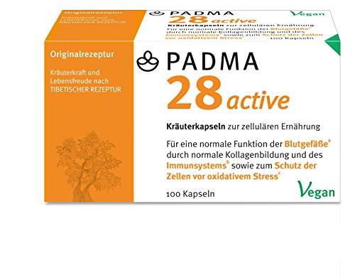PADMA 28 active 100 Kapseln Tibetische Rezeptur 28 aus Kräutern & Mineralien mit Vitamin C. Dieses unterstützt ein Aktives Immunsystem, die Blutgefäße, Regeneration & den Schutz vor oxidativem Stress