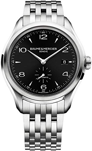 Baume & Mercier Clifton/reloj para hombre/esfera negra con acabado satinado sol/caja y pulsera de acero/ref. M0A10100