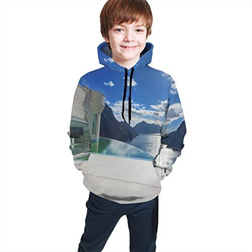 Teen Hooded Sweatshirts,Modern Summer Penthouse with Infinite Pool Ocean Sea Scenery Image L