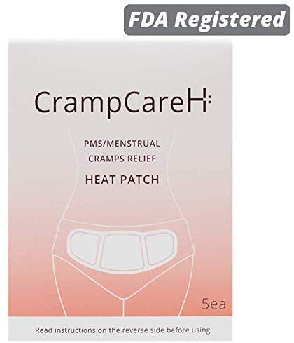 (5 Patches) CrampCareH PMS/Menstrual Cramps Relief Heat Patch with Wide Wings, FDA Registered